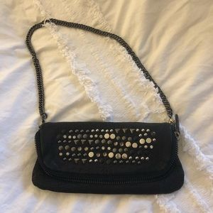 Maje Black Lambskin Leather Studded Purse